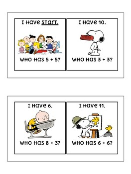 I Have Who Has Addition Within 20 SNOOPY / PEANUTS THEME