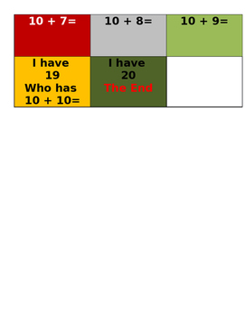 I Have Who Has Addition and Subtraction Game (0-20)