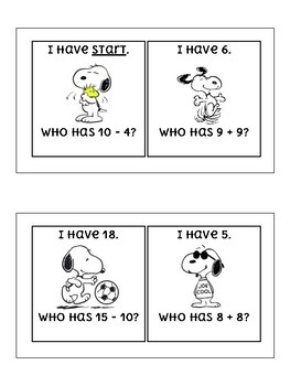 I Have Who Has Addition and Subtraction Within 20 SNOOPY / PEANUTS THEME