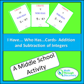 I Have... Who Has...Cards- Addition and Subtraction of Integers