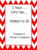I Have Who Has Addition up to 18