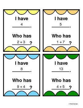 I Have, Who Has - Addition using numbers 0-10 (2 sets included)