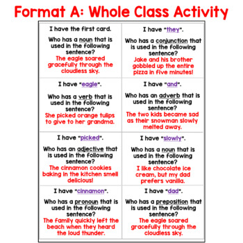 I Have... Who Has:  Advanced Parts of Speech Whole Class Activity Game