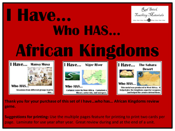 I Have..Who Has.. African Kingdoms