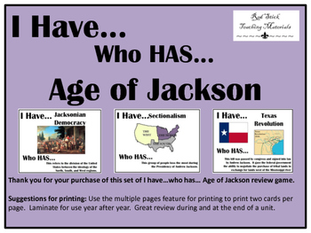 I Have..Who Has.. Age of Jackson