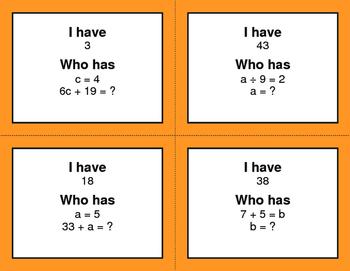 I Have, Who Has - Algebra
