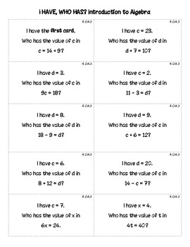 I Have, Who Has? Algebra Game (Common Core Aligned)