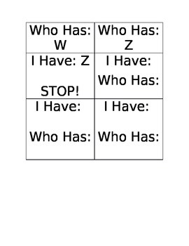 I Have Who Has Alphabet Game