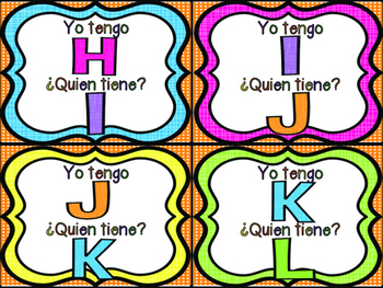 I Have Who Has Alphabet Game in Spanish