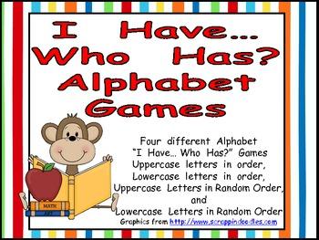 I Have ... Who Has Alphabet Games for Kindergarten or Preschool