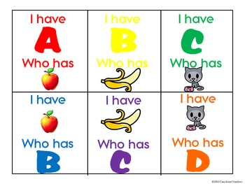 I Have Who Has Alphabet and Pictures