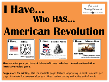 I Have..Who Has.. American Revolution