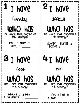 I Have... Who Has... Analogy Game (Third Grade)
