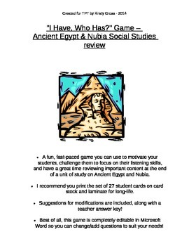 """""""I Have, Who Has?"""" Ancient Egypt Review Game"""