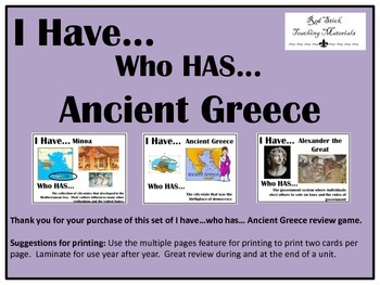 I Have..Who Has.. Ancient Greece