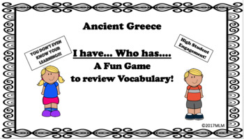 I Have...Who Has... Ancient Greece Vocabulary Review Game
