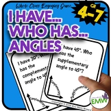 I Have Who Has Angles Game -  Complementary Angles and Supplementary Angles