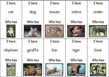 I Have... Who Has... Animal Cards