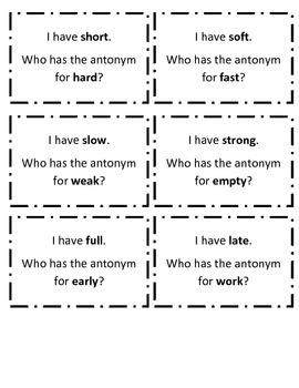I Have Who Has Antonym Game