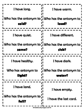 I Have, Who Has Antonym Review Game