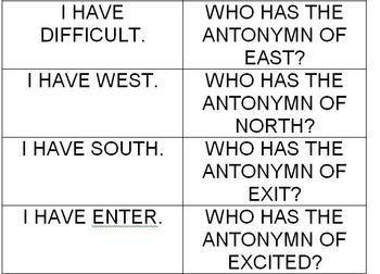 I Have, Who Has: Antonymns