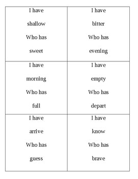 I Have Who Has? Antonyms