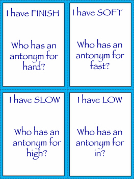 I Have... Who Has... Antonyms Game