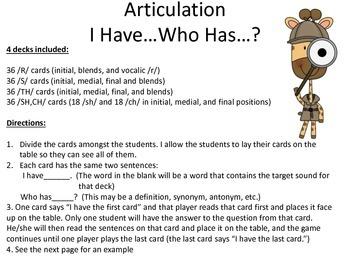 Articulation Card Game- R, S, TH, SH/CH Decks!