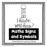 I Have Who Has Australian Maths Signs and Symbols Card Set