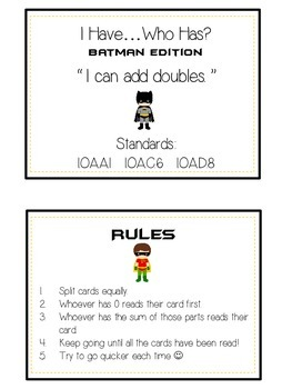 I Have Who Has - BATMAN - Adding DOUBLES - Math Folder Game