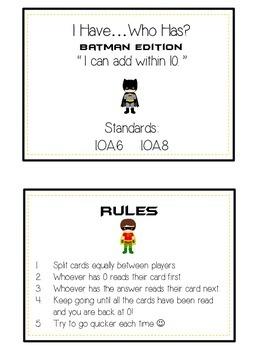 I Have Who Has - BATMAN - Math Folder Game Adding to 10  Common Core Aligned