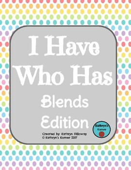 I Have Who Has BLENDS Game (BLACKLINE)
