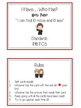 I Have Who Has - BOY WIZARD - Ten More Ten Less - Math Folder Game