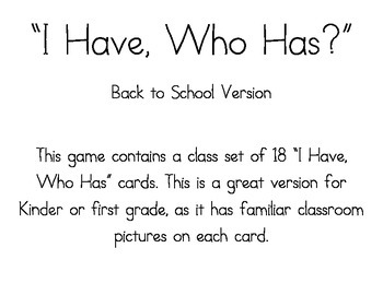 """""""I Have; Who Has?"""" Back to School version"""