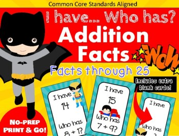 I Have... Who Has - Basic Addition Facts Through 20 - CCSS