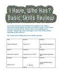 """I Have, Who Has?"" Basic Skills Review (Middle School)"