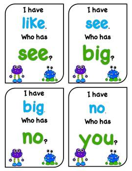 I Have Who Has Beginning Sight Words Freebie
