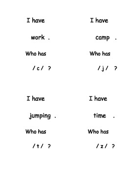 I Have, Who Has...? Beginning Sounds in Words set