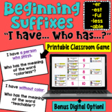 Suffixes I Have Who Has Game (-ful, -less, -able, -er, and -est)
