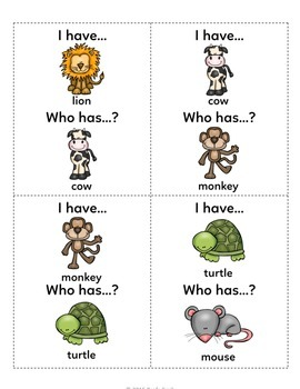 I Have Who Has Bilingual Animals