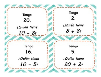 I Have/ Who Has Bilingual Math Game