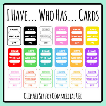I Have Who Has Blank Template Cards Clip Art Set for Commercial Use