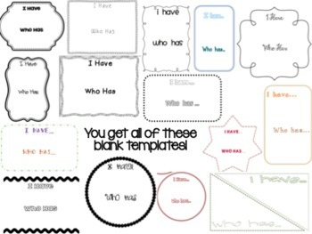 I Have, Who Has - Blank Templates (15 editable templates)