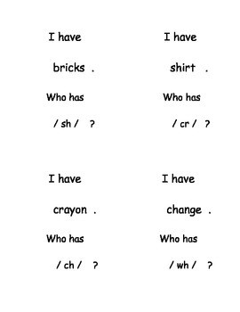 """""""I Have, Who Has...?"""" Blends and Digraphs"""
