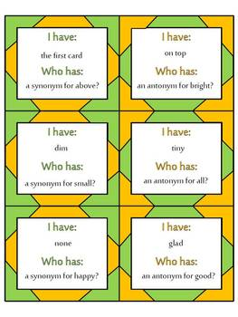 I Have, Who Has Bundle (Antonyms and Synonyms, Casue and Effect, Compound Words)