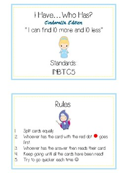 I Have Who Has - CINDERELLA - Ten More Ten Less - Math Folder Game