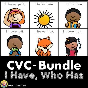 I Have Who Has CVC Short Vowel Word Games Bundle