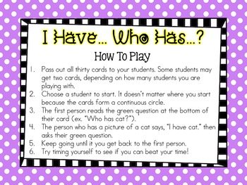 I Have, Who Has: CVC Word Phonics Game