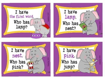 I Have... Who Has? CVCC Words {Elephant Edition}