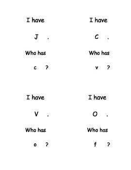 I Have Who Has Capital and Lowercase Letters set